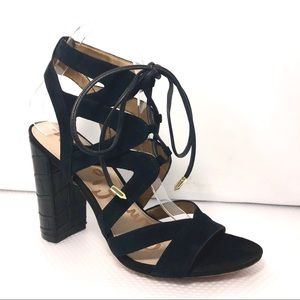 Sam Edelman Yardley Black Suede Heel Sandal Sz8.5